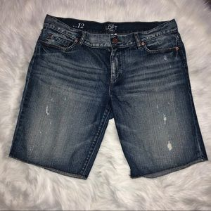Loft lightly destressed bermuda shorts size 12